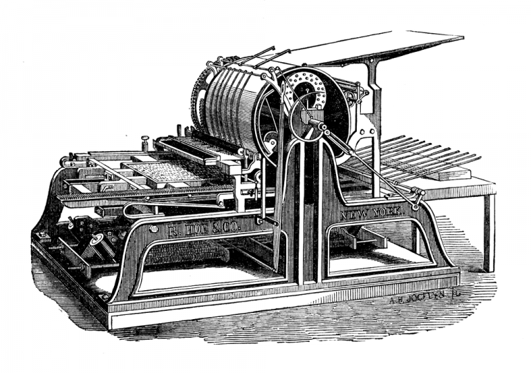 1024px Hoes one cylinder printing press 768x540 - تاریخچه فلکسو
